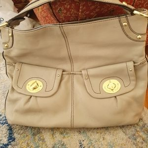 Etienne Aigner Taupe leather handbag
